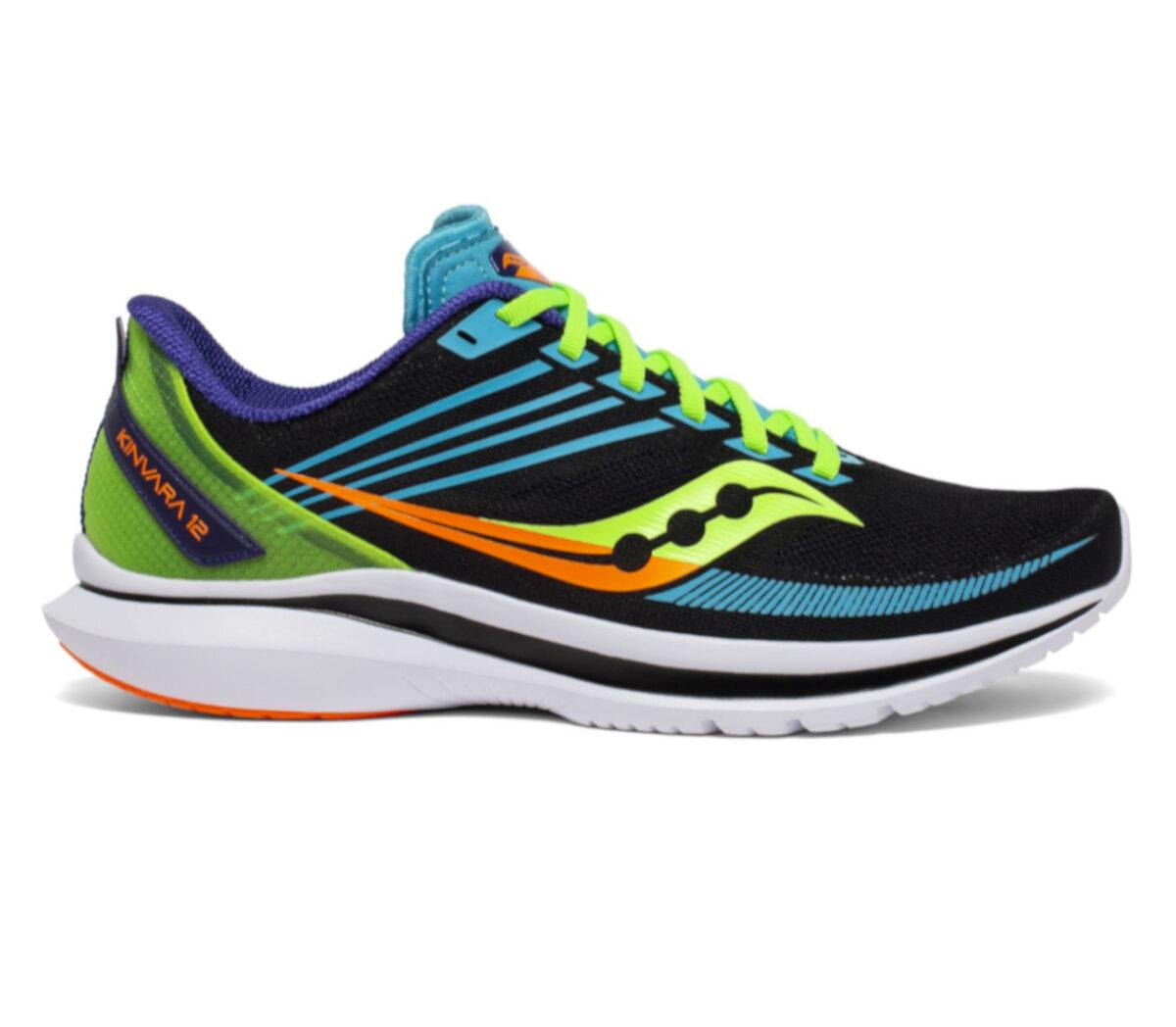 scarpa running veloce uomo saucony kinvara 12 nera, gialla, verde, arancione