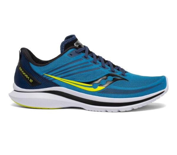 scarpa da running reattiva saucony kinvara 12 da uomo blu e gialla