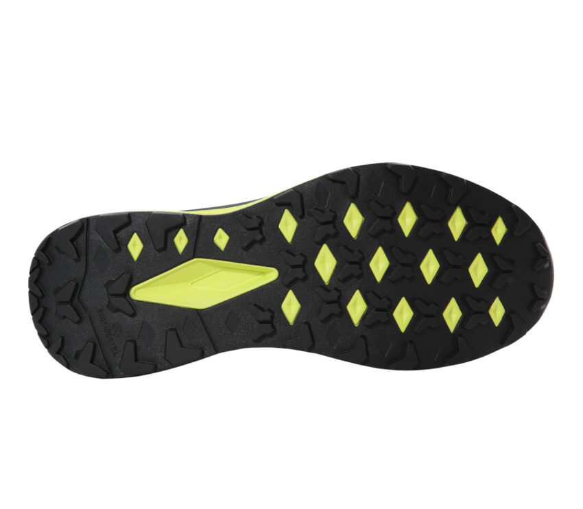 suola scarpa da trail running the north face vective infinite uomo giallo e nera