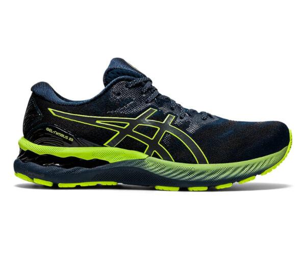scarpa running uomo ascia gel nimbus 23 lite show nera e gialla fluorescente