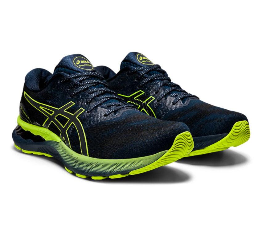 coppia scarpe Running uomo asics del nimbus 23 lite show nere e giallo fluorescente