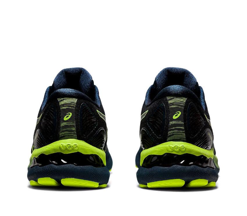 retro coppia scarpe Running uomo asics del nimbus 23 lite show nere e giallo fluorescente