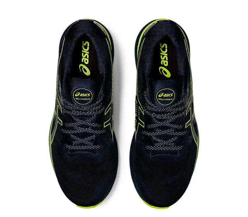 coppia scarpe Running uomo asics del nimbus 23 lite show nere e giallo fluorescente viste dall'alto