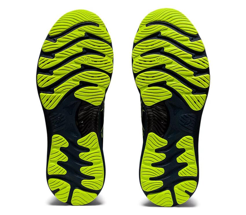 suola coppia scarpe Running uomo asics del nimbus 23 lite show nere e giallo fluorescente