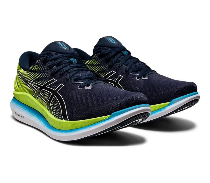 coppia di scarpe da running asics glideride 2 da uomo blu e verde