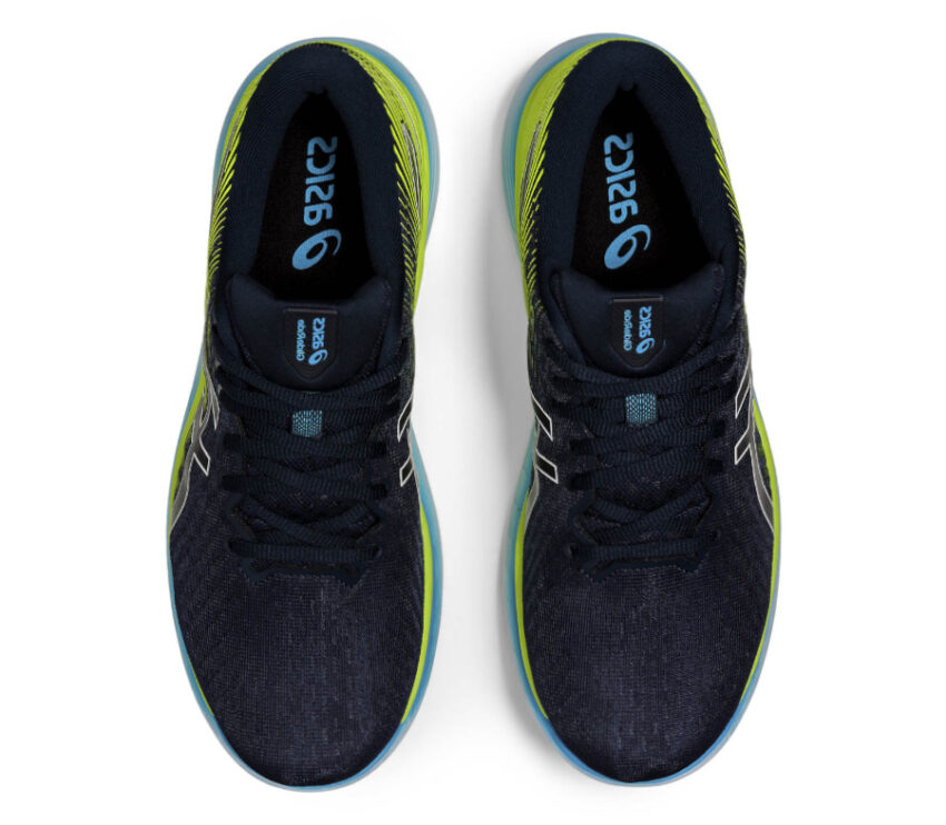 tomaia scarpa da running asics glideride 2 da uomo blu e verde