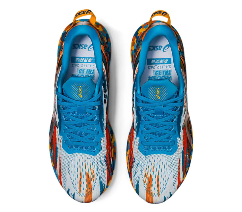 tomaia scarpe da triathlon asics noosa tri 13 blu e arancioni