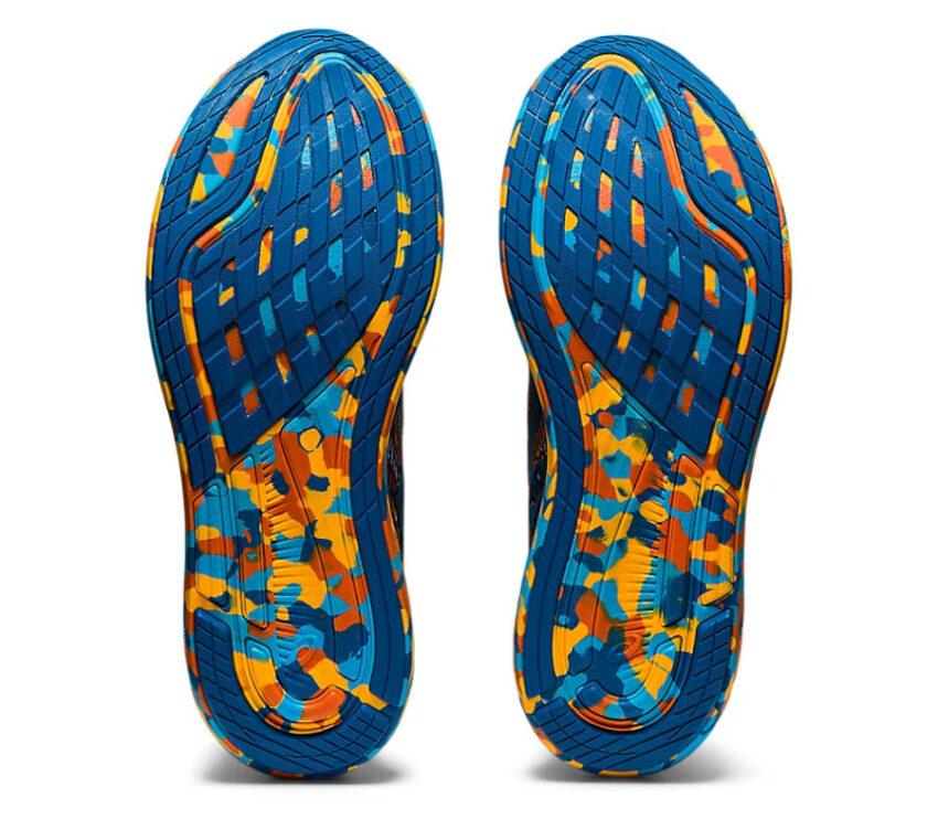suola scarpe da triathlon asics noosa tri 13 blu e arancioni