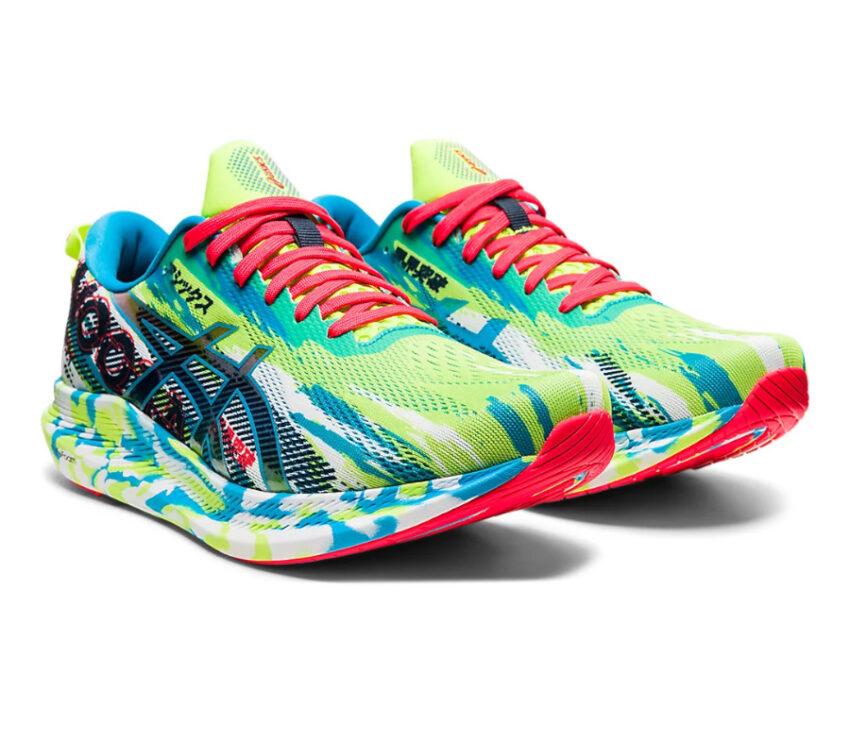 coppia scarpa da triathlon uomo asics noosa tri 13 verde e blu