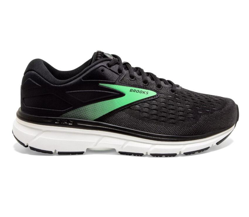 scarpe running donna a pianta larga nere e verdi brooks dyad 11 2e wide