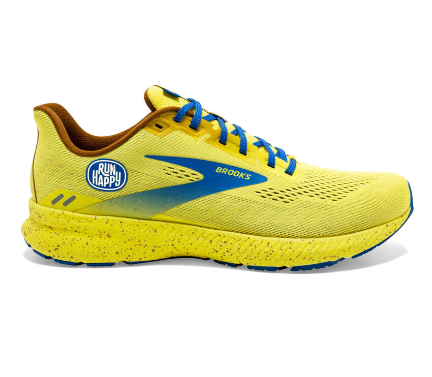 scarpa running brooks launch 8 donna gialla e blu