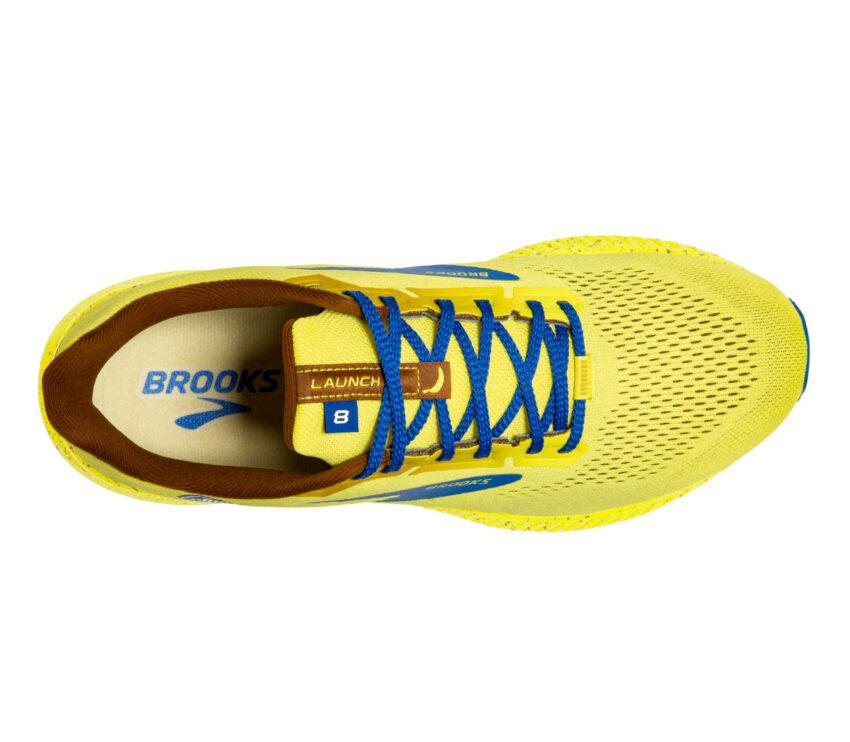 scarpa running brooks launch 8 donna gialla e blu vista da sopra