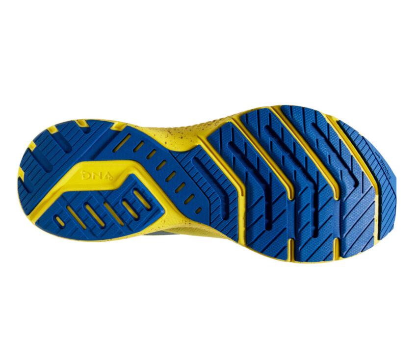 suola scarpa running brooks launch 8 donna gialla e blu