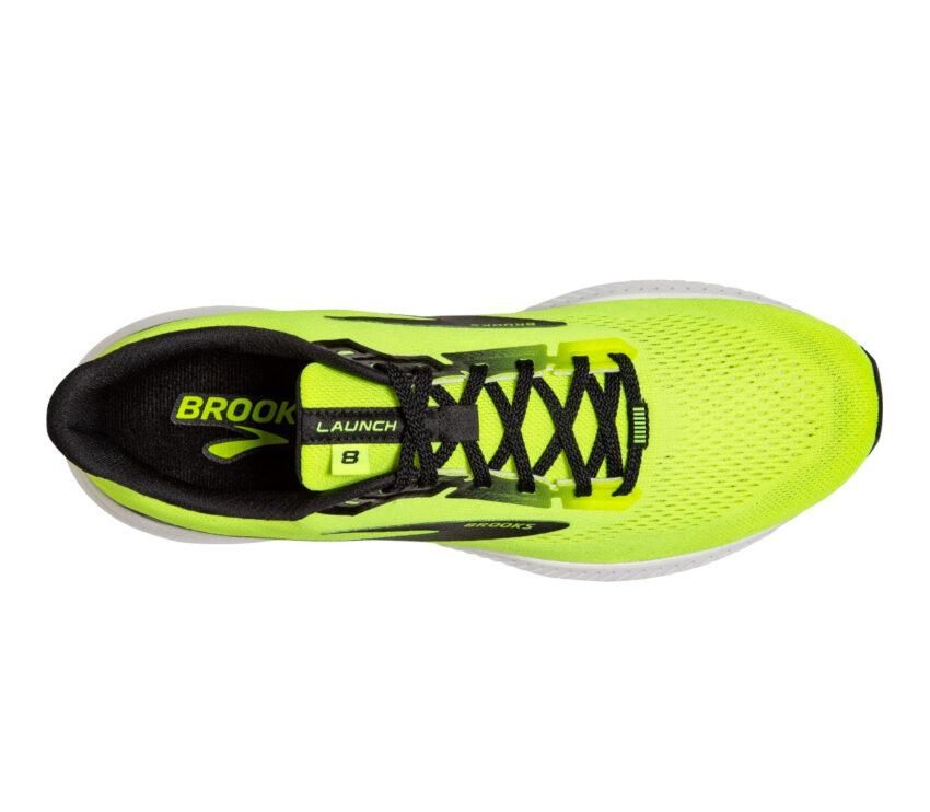 scarpa running uomo brooks launch 8 gialla vista dall'alto