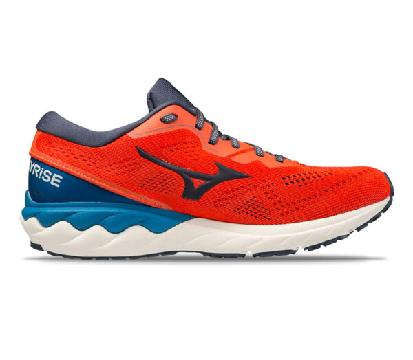 scarpa running uomo mizuno wave skyrise 2 rossa e blu