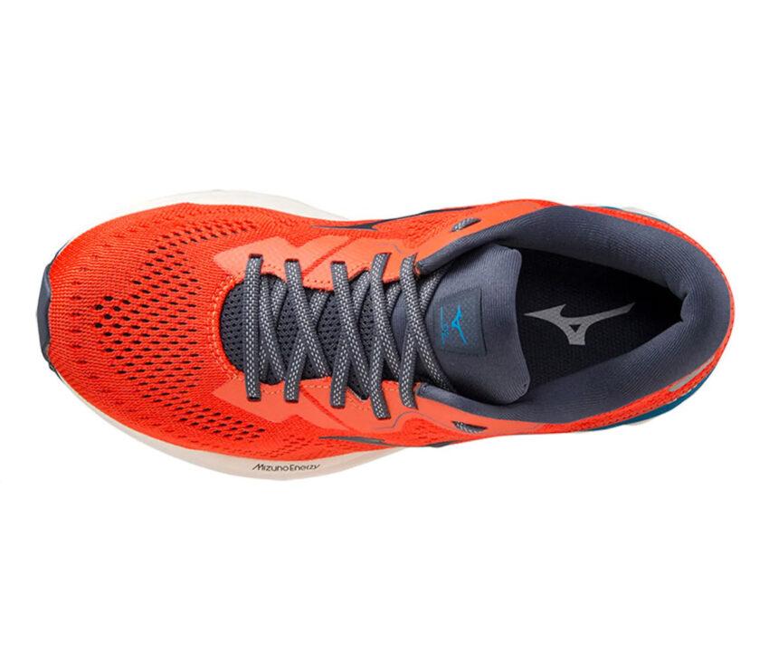 scarpa running uomo mizuno wave skyrise 2 rossa e blu vista da sopra