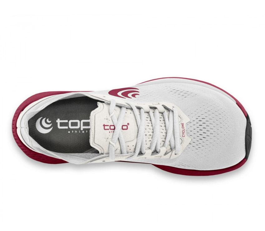 tomaia scarpa running minimal donna topo cyclone rossa e bianca