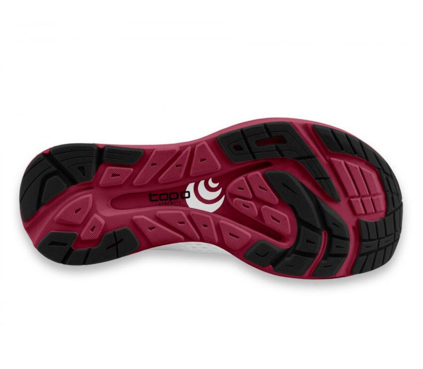 suola scarpa running minimal donna topo cyclone rossa e bianca