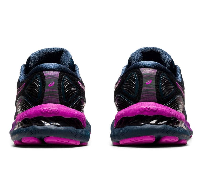retro scarpe running asics gel nimbus 23 lite show nere e viola