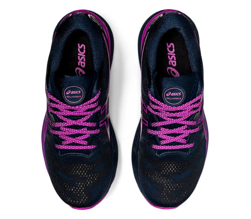 scarpe running asics gel nimbus 23 lite show nere e viola viste dall'alto