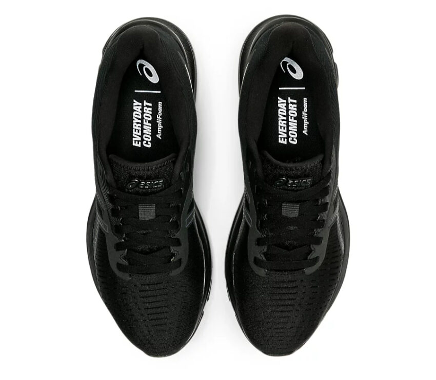 coppia scarpe running donna nere asics gel pulse 12 viste da sopra