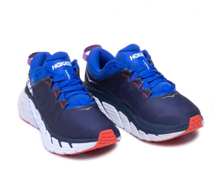 coppia scarpe running hoka hoka gaviota 3 da uomo blu e bianche