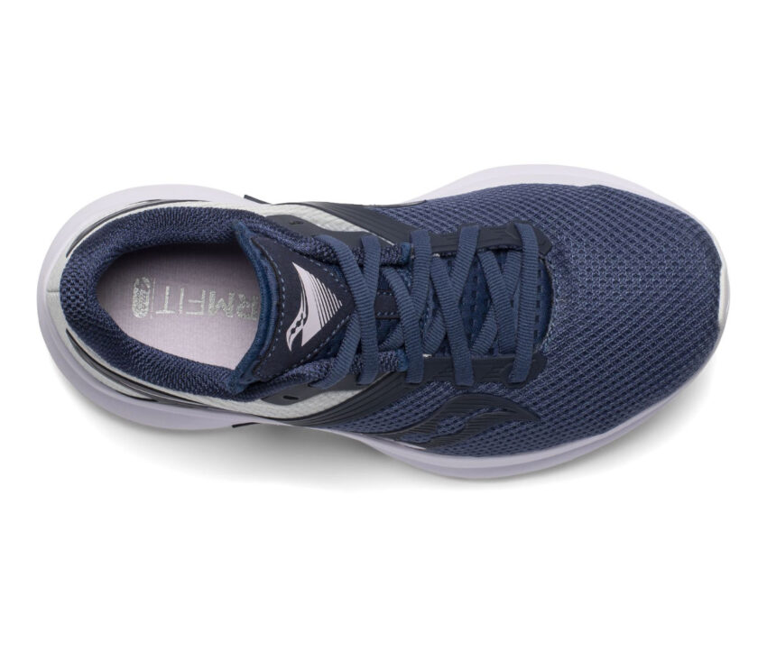 scarpa running leggera da donna saucony axon bianca e blu vista da sopra