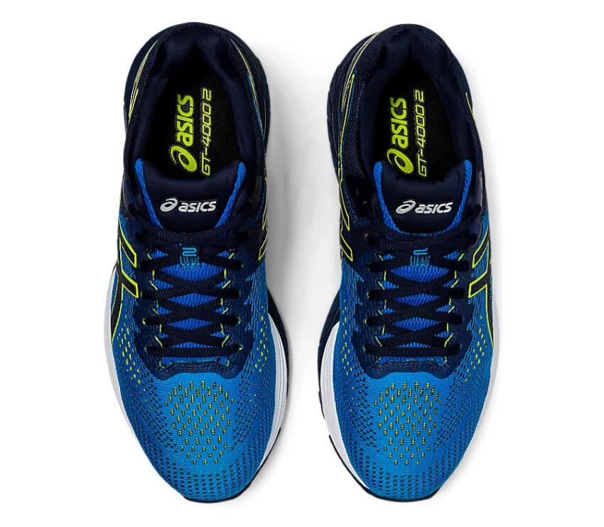 coppia scarpe running per pronatori asics gt 2000 4 blu viste dall'alto