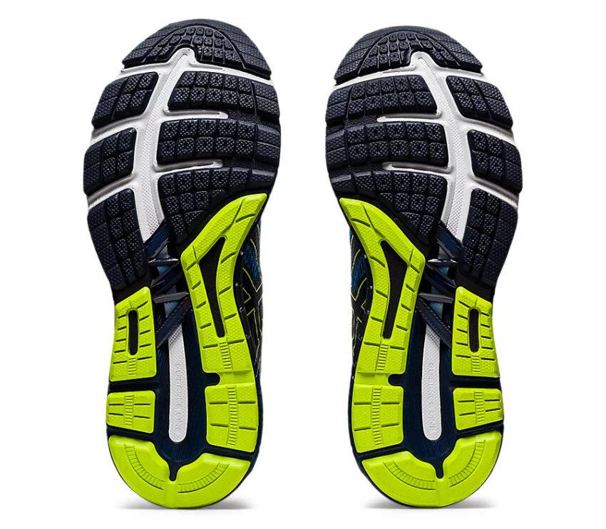 suola scarpe running per pronatori asics gt 2000 4 blu, gialle e bianche