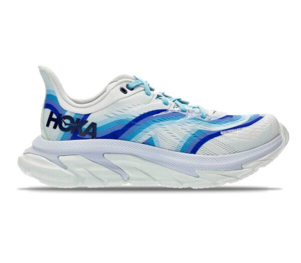 scarpa running uomo hoka one one clifton edge geometric bianca e blu