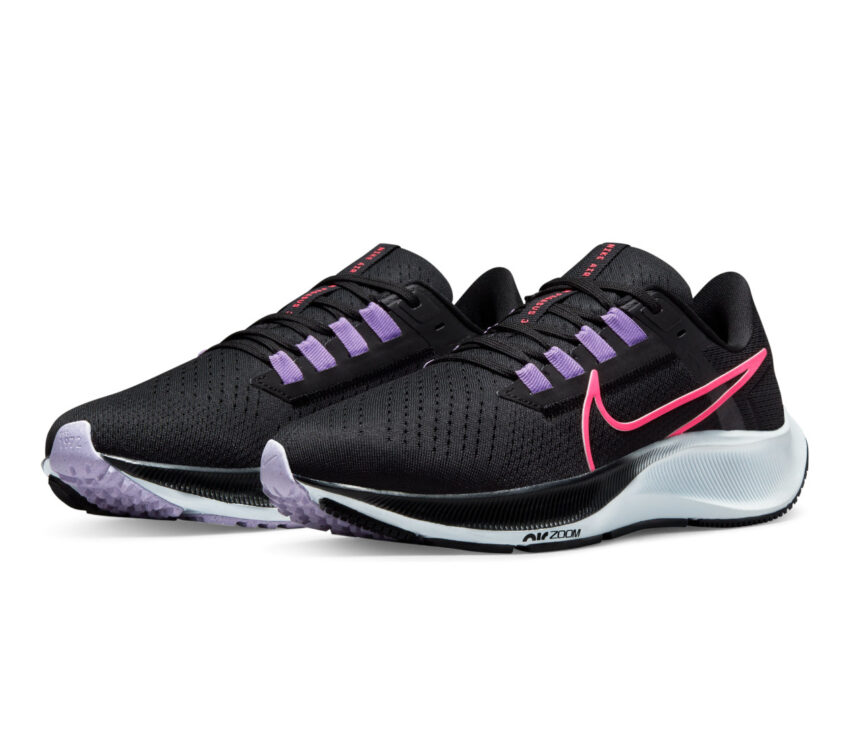 coppia scarpa da running neutra donna nike pegasus 38 nera e rosa