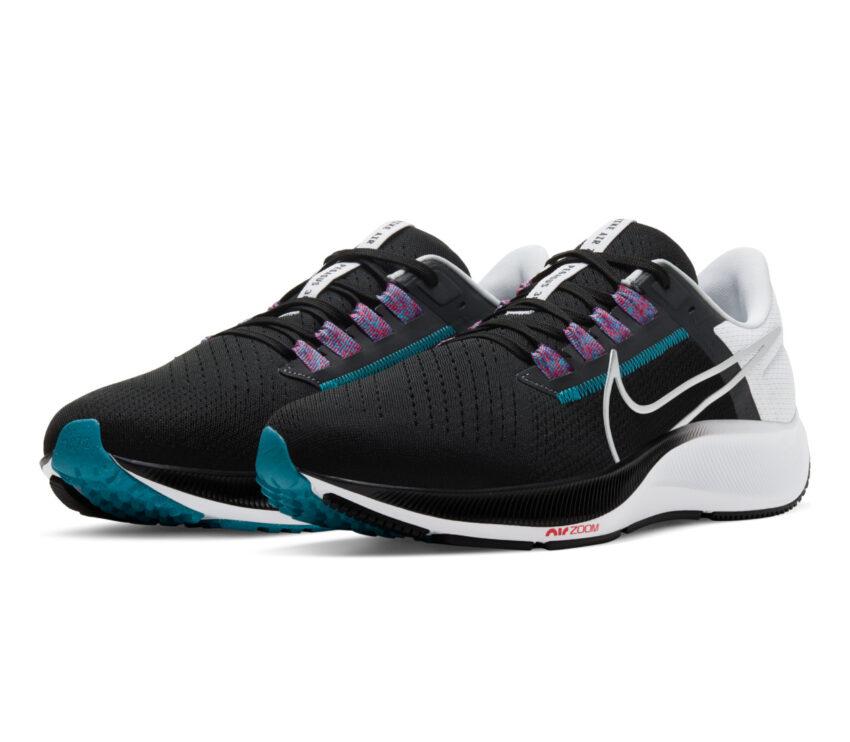 coppia scarpa running uomo nike pegasus 38 nera bianca