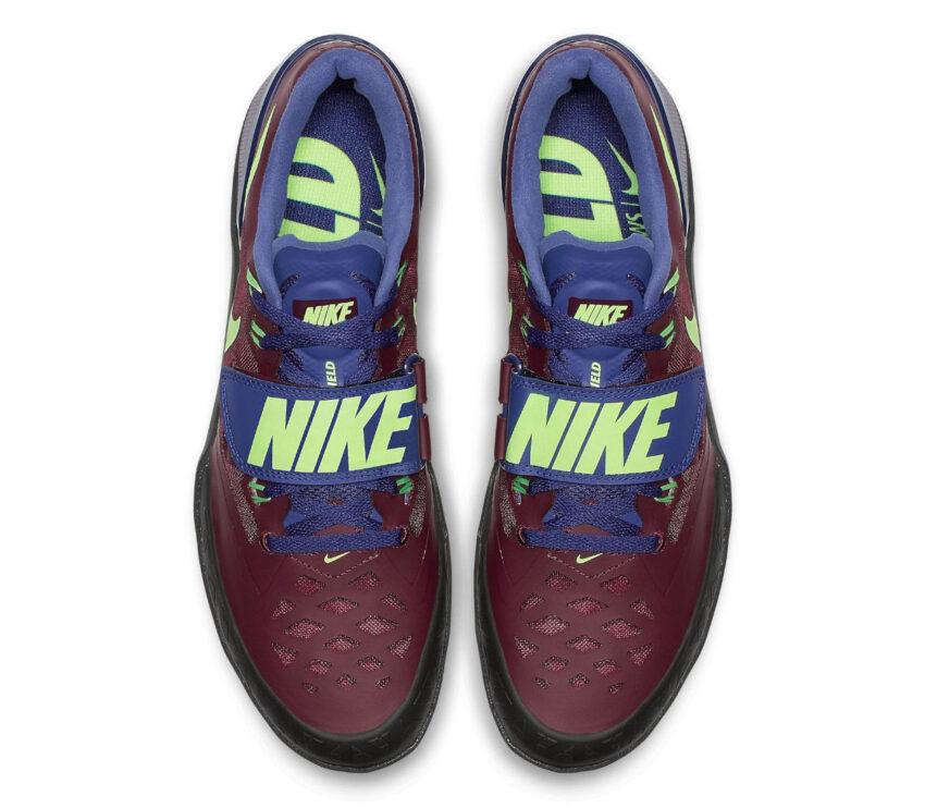 tomaia suola scarpa da lancio su pista nike zoom rotational rossa