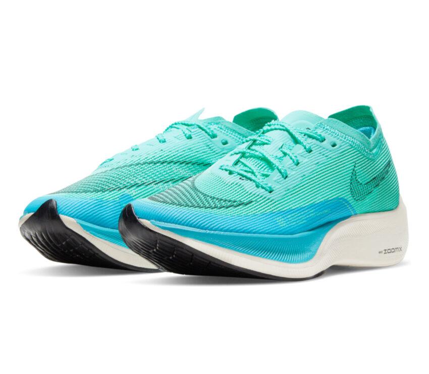 coppia scarpa da running nike zoomx vaporfly next 2 da donna azzurra