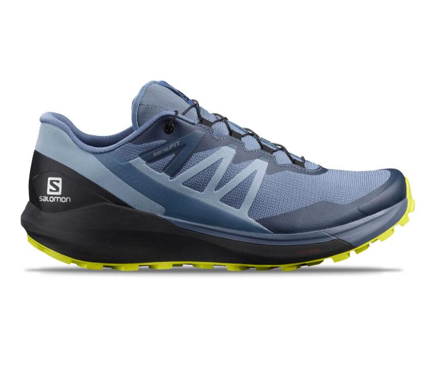 scarpa trail running salomon sense ride uomo blu e gialla