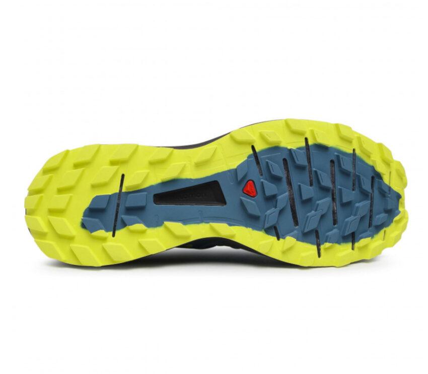 suola scarpa trail running salomon sense ride uomo blu e gialla
