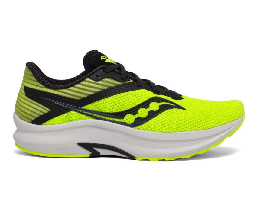 scarpa running uomo saucony axon giallo fluo e nera