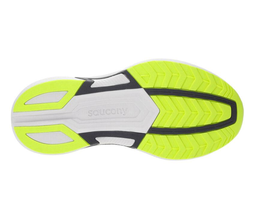 suola scarpa running uomo saucony axon giallo fluo, bianca e nera