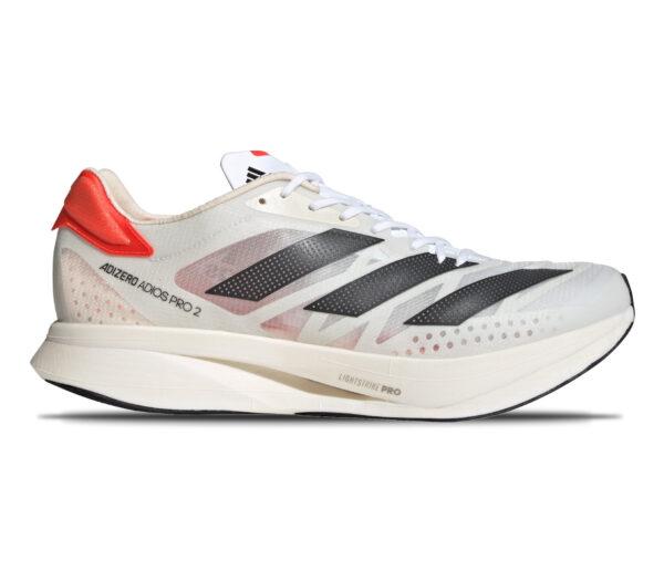 scarpa running adidas adizero adios pro 2 unisex bianca e nera con retro arancione
