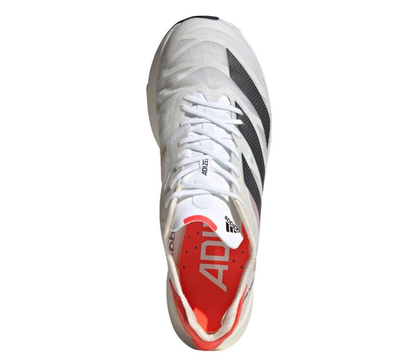 scarpa running adidas adizero adios pro 2 unisex bianca e nera con soletta arancione vista da sopra