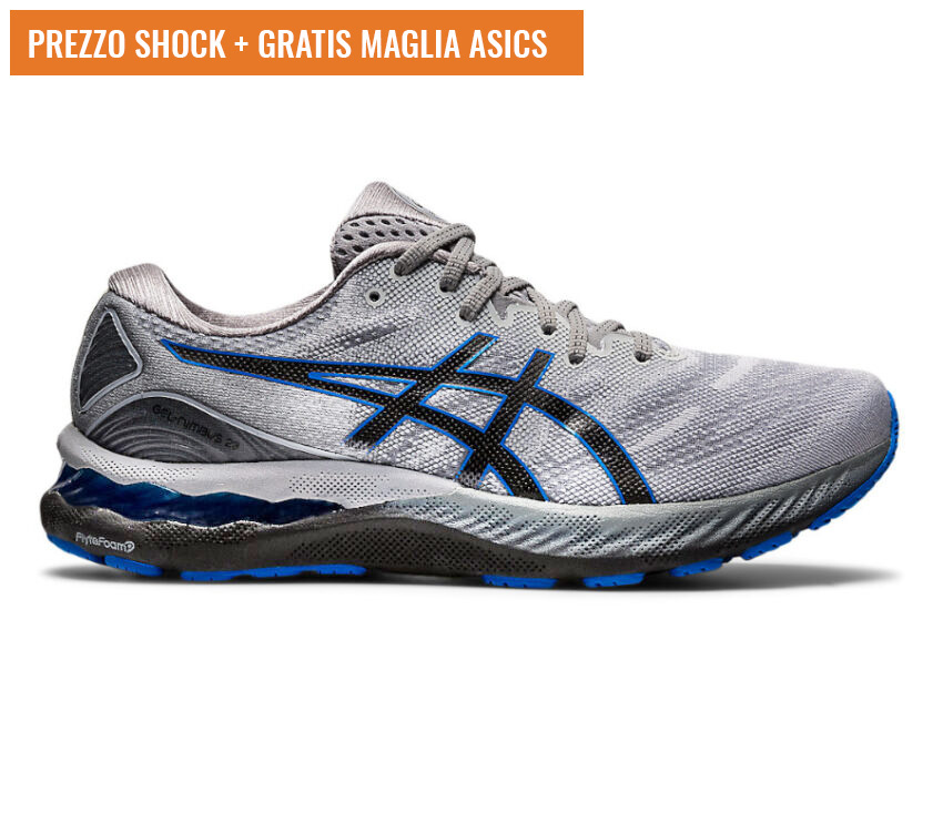 scarpa running uomo grigia, nera e blu asics gel nimbus 23
