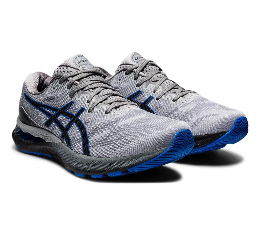 coppia scarpe running uomo grigie, nere e blu asics gel nimbus 23