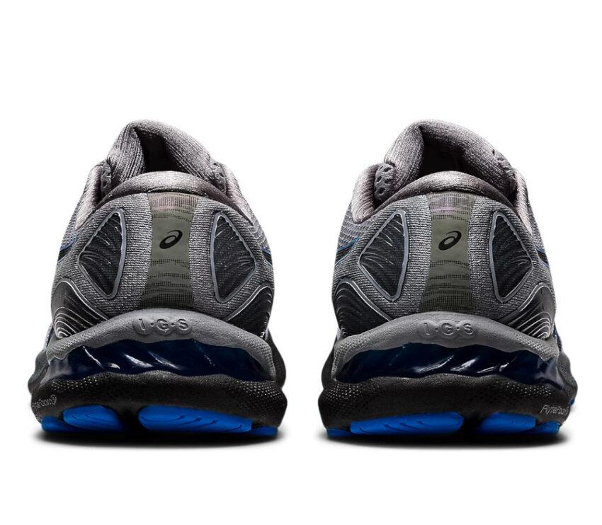 retro scarpe running uomo grigie, nere e blu asics gel nimbus 23