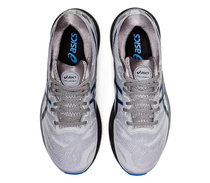 scarpe running uomo grigie, nere e blu asics gel nimbus 23 viste da sopra