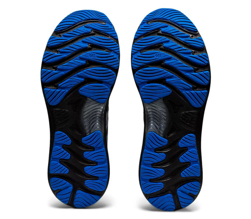 suola scarpe running uomo nere e blu asics gel nimbus 23