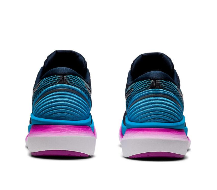 retro scarpa da running per donna asics glideride 2 blu e rosa