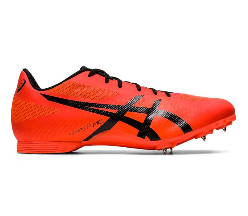 scarpa pista mezzofondo unisex asics hyper md 7 arancione e nera