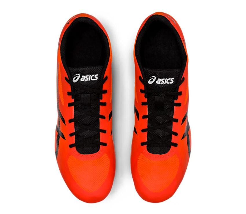 scarpe pista mezzofondo unisex asics hyper md 7 arancioni e nere viste da sopra