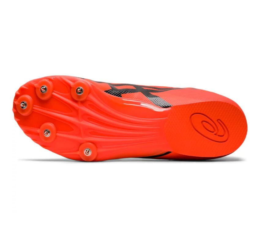 suola scarpa pista mezzofondo unisex asics hyper md 7 arancione con 5 chiodi