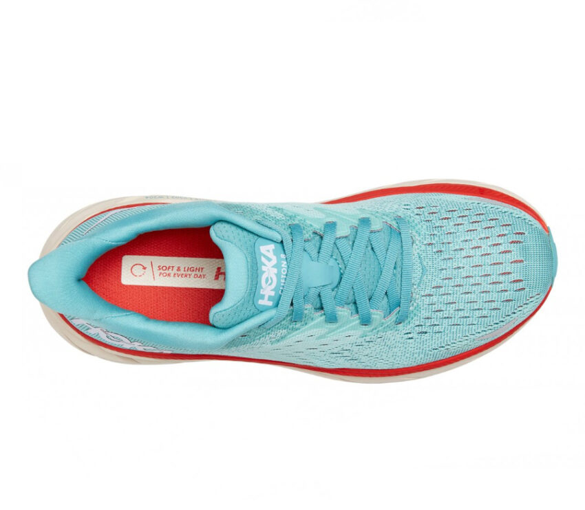 tomaia scarpa da running ammortizzata donna hoka clifton 8 azzurra